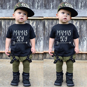 2 pieces Mamas Boy Print T-shirt and Pant Set For Toddler Boy and baby Boy summer Clothes Boys Clothing Sets