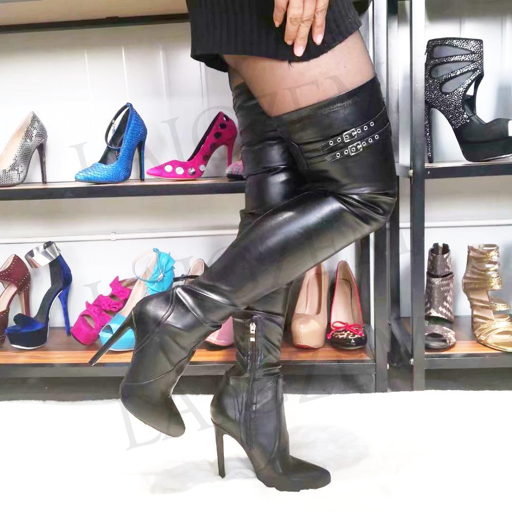 LAIGZEM Super SEXY femmes bottes sur le genou boucles talons aiguilles cuissardes bottes Botas Feminina Botines Mujer grande taille 4-14LAIGZEM Super SEXY femmes bottes sur le genou boucles talons aiguilles cuissardes bottes Botas Feminina Botines Mujer grande taille 4-14