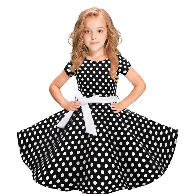 2019 New Girls Dress Fashion Kids Ball Gowns Junior Girls Prom Dresses  Fancy Children Teenage Dot Print Clothes 8 10 12 Years 256a8bbe5a71