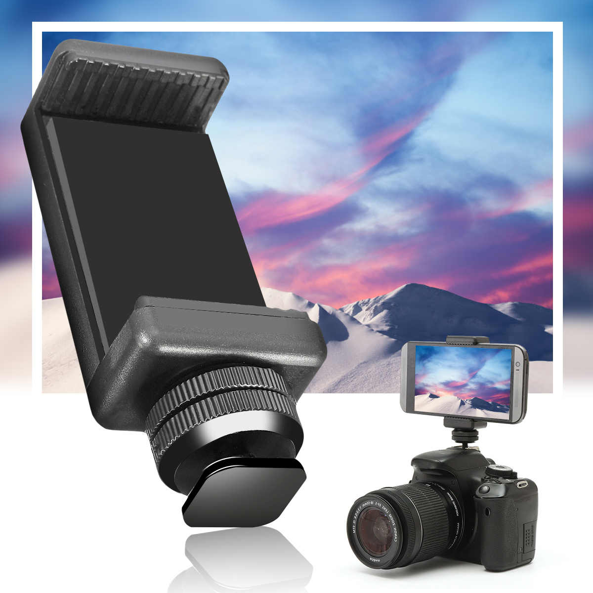 1/4 Phone Clip Holder Flash Hot Shoe Screw Adapter Tripod Mount For DSLR Camera