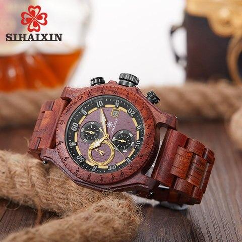SIHAIXIN New Men Wooden Watch Waterproof Handmade Man Wood Wristwatches Quartz Movement Date Sport Male Clock erkek kol saati Islamabad