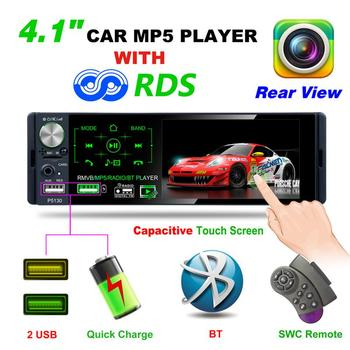 4.1 Inch 1 Din Auto Car Radio MP5 Player Touch Screen Audio Mirror Link Stereo Bluetooth IR Rear View Camera USB / TF / AUX IN image