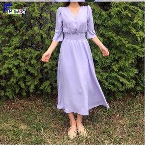 Image 4 - Frauen V Neck Sommer Kleider Chiffon Flare Hülse Dünne Taille EINE Linie Koreanische Stil Kleidung Design Taste Hemd Kleid Lila gelb