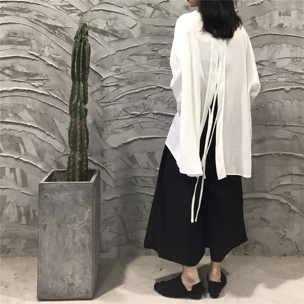 DEAT 2019 New Spring Fashion Women Solid Color Turn down Collar Batwing Sleevs Lace Up Back