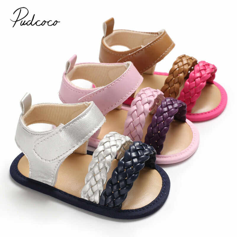2019 Children Summer Clogs Newborn Toddler Baby Girl Summer Sandals Anti-slip Prewalker Kid Soft Knitted Fashion Sole Crib Shoes