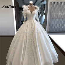 Wedding-Dresses Long-Sleeves Bridal-Gowns Applique White Neck with Ivory Cheap Illusion