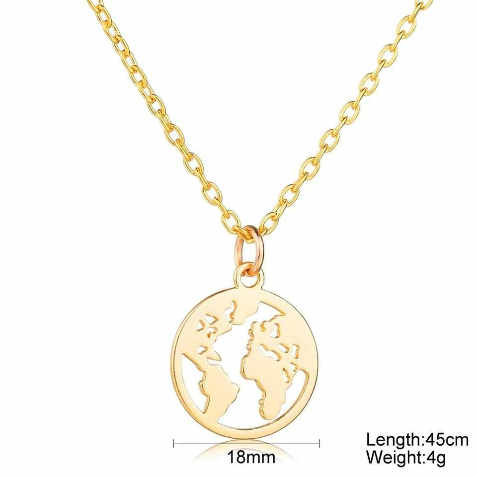 World แผนที่สร้อยคอ Globetrotter แผนที่ทองจี้ World Choker แผนที่ Crescent Moon สร้อยคอและจี้ Dainty จี้สำหรับผู้หญิง