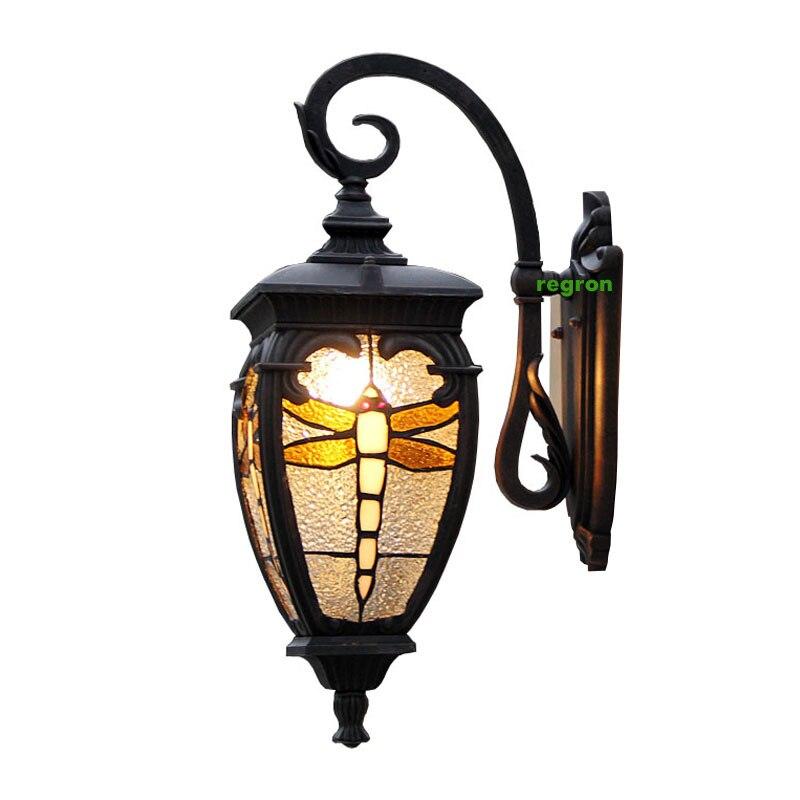 Us 112 23 13 Off Persia Rustic Garden Light Dragonfly Stained Gl Terrace Outdoor Wall Lamp Balcony Waterproof Street Landscape Lighting In