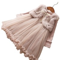 spring baby girl dress long sleeve fur vest baby girl clothes winter boutiques gown dress kids dresses for girl's clothing