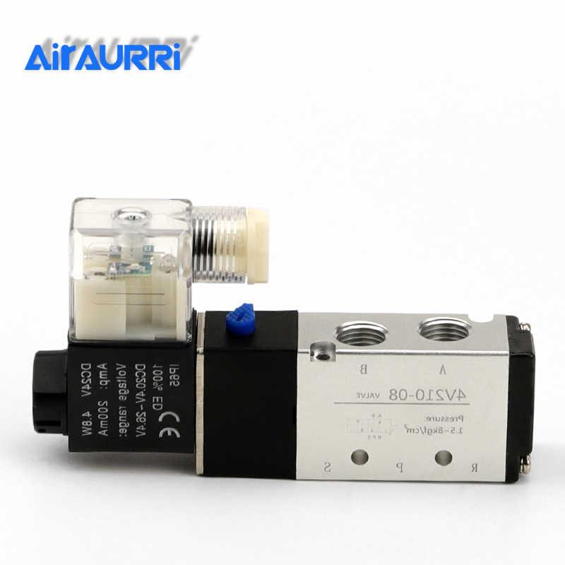 1x 12V Pneumatic 5-Way 2-Position Electric Air Solenoid Valve Kit 4V210-08 BSPT