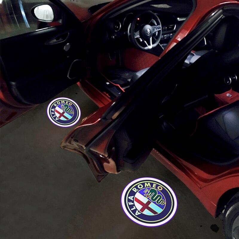 2Pcs Car Door Light Alfa Romeo 147 156 159  Car Door Lights Logo Projector For Alfa Romeo Giulia Giulietta Mito Stelvio Brera
