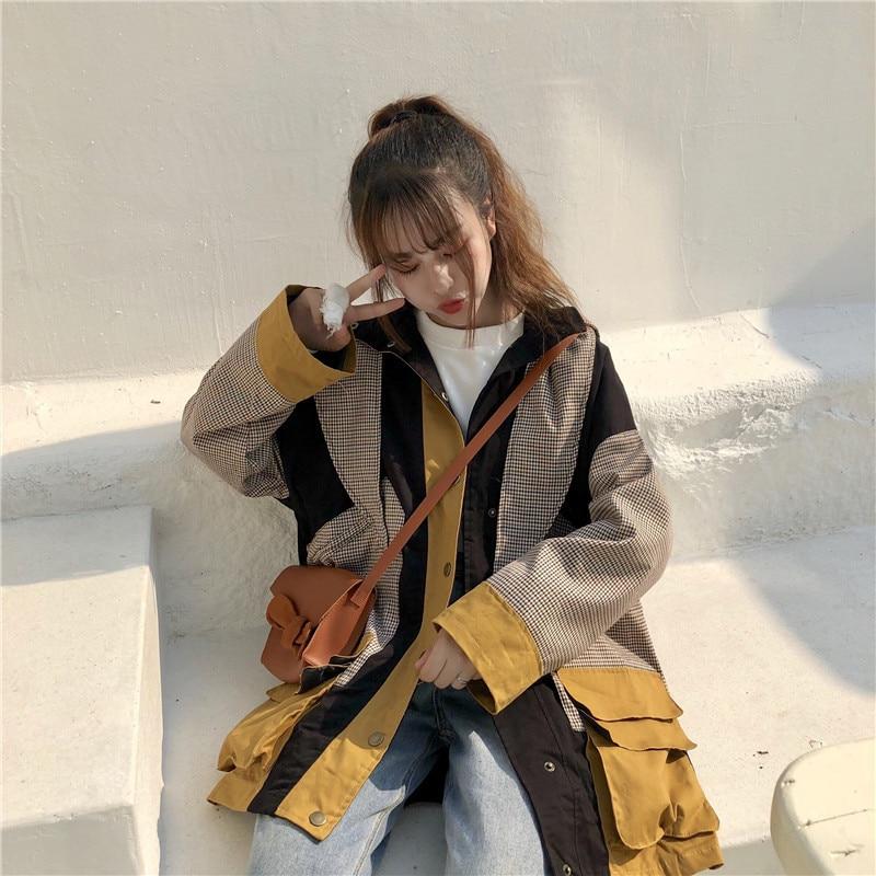 Contraste Femmes Coréen Mode Manteaux Large Patchwork Longues Hiver Picture Picture Veste Survêtement Couleurs As À as De Capuche Automne Lâche Manches Vêtements wOzAIqx4