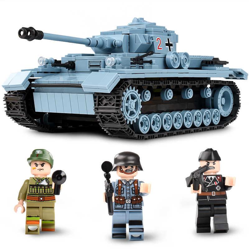 KAZI военный немецкий Король тигр Танк строительные блоки Совместимые Legoed техника армии Солдат оружие Кирпичи игрушки для детей