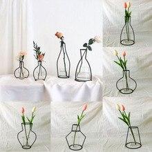 Стиль, украшение для дома и вечеринки, ретро железная линия, ваза для цветов, металлический держатель для растений, современный однотонный домашний декор, скандинавские стили, железная ваза