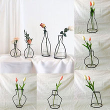 New Style Home Party Decoration Retro Iron Line Flowers Vase Metal Plant Holder Modern Solid Home Decor Nordic Styles Iron Vase(China)