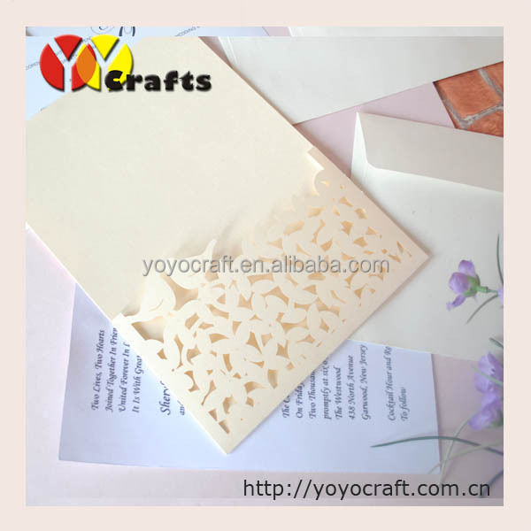 Us 55 5 Laser Cut Unique Wedding Invitation Cards Folding Wedding Invitation Cards Envelope In Cards Invitations From Home Garden On