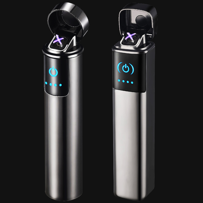 Double Electric Arc Cigarette Lighter Usb Lighter Fast Recharge Electronic Lighters Touch Switch Igniter LED Electricity