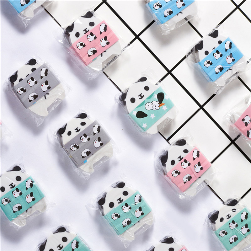 Lovely Panda Pencil Eraser Kawaii Cartoon Animals Rubber Cute Erasers Girls Kids Gifts School Office Korean Stationery Supplies