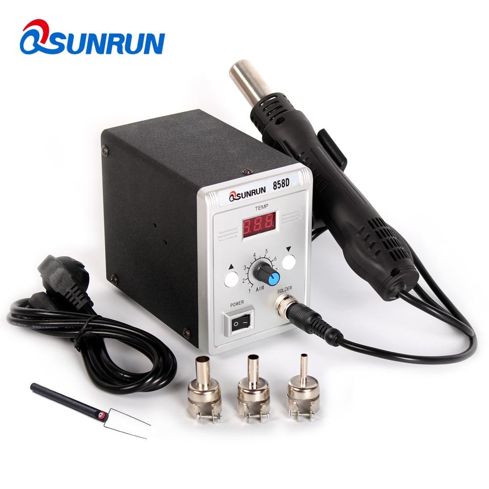 Qsunrun 858D BGA Soldering Station 700W Hot Air Gun 858D  ESD LED Digital Display SMD Desoldering Station with 3 Nozzles