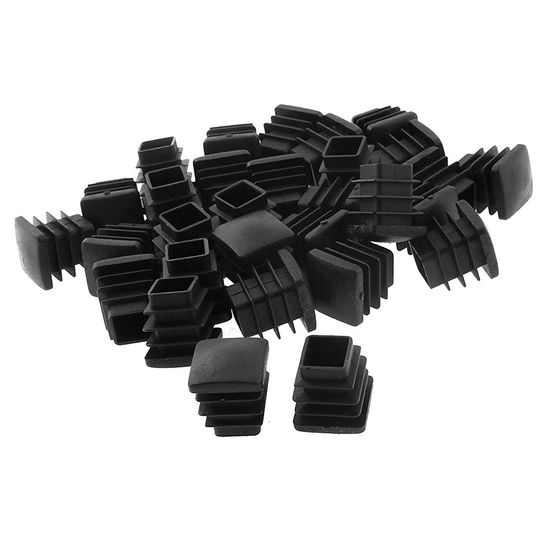 Square Table Chair Leg Feet Tube Pipe Insert Cap 30pcs Black