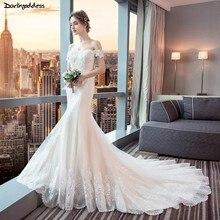 Elegant Champagne Mermaid Wedding Dresses 2019 Lace Sexy Bridal Gowns Short Sleeve Dress Vestido De Novia Sirena