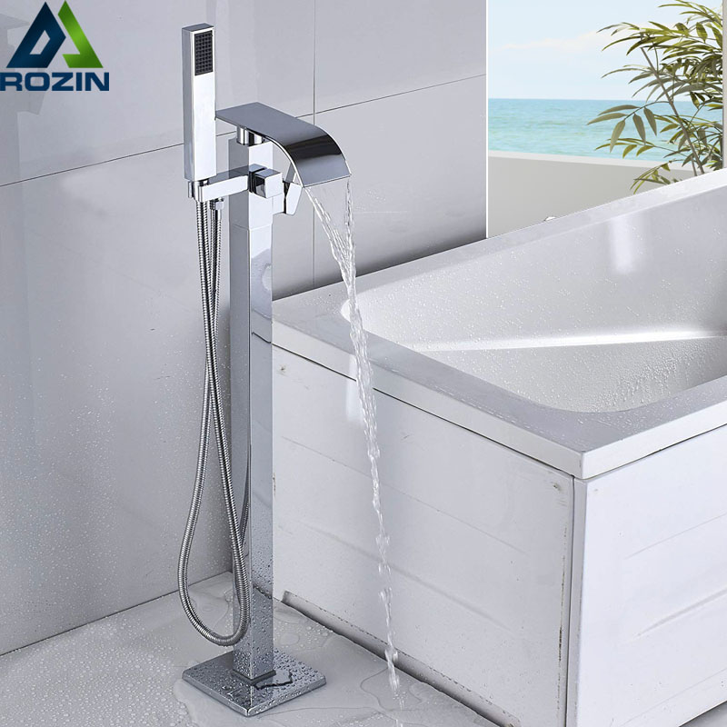 Luxury Bath Tub Sink Faucet Floor Mounted Chrome Waterfall Bathtub Mixers Free Standing Hot and Cold