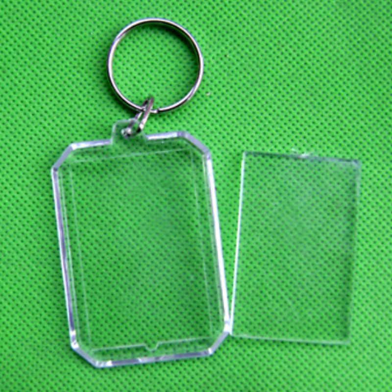 Venda 1 pc Unisex Transparente Inserção Em Branco Chaveiro Foto Moldura de Acrílico DIY Rodada Retângulo Coração Dos Homens Das Mulheres Chaveiro