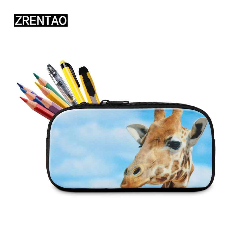 School/Office Lady Large Zipper Canvas Cosmetic Bag Kids Students Pencils Bags Case Personalized Penbox Ballet Dance Printing
