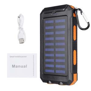 Image 5 - 20000mAh Waterproof Portable Solar Power Bank Cell Phone Solar Charger Dual USB Charging Ports LED Light Carabiner Compasses