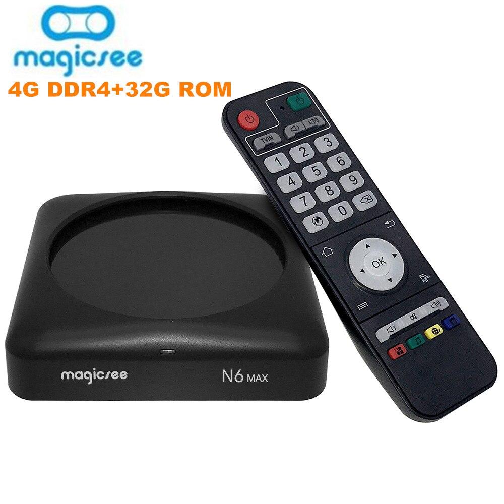 Magicsee N6 Max TV Box Android 7.1 Rockchip3399 4GB DDR4 32GB 5G WiFi 1000Mbps LAN Bluetooth 4.1 4K décodeur lecteur multimédia