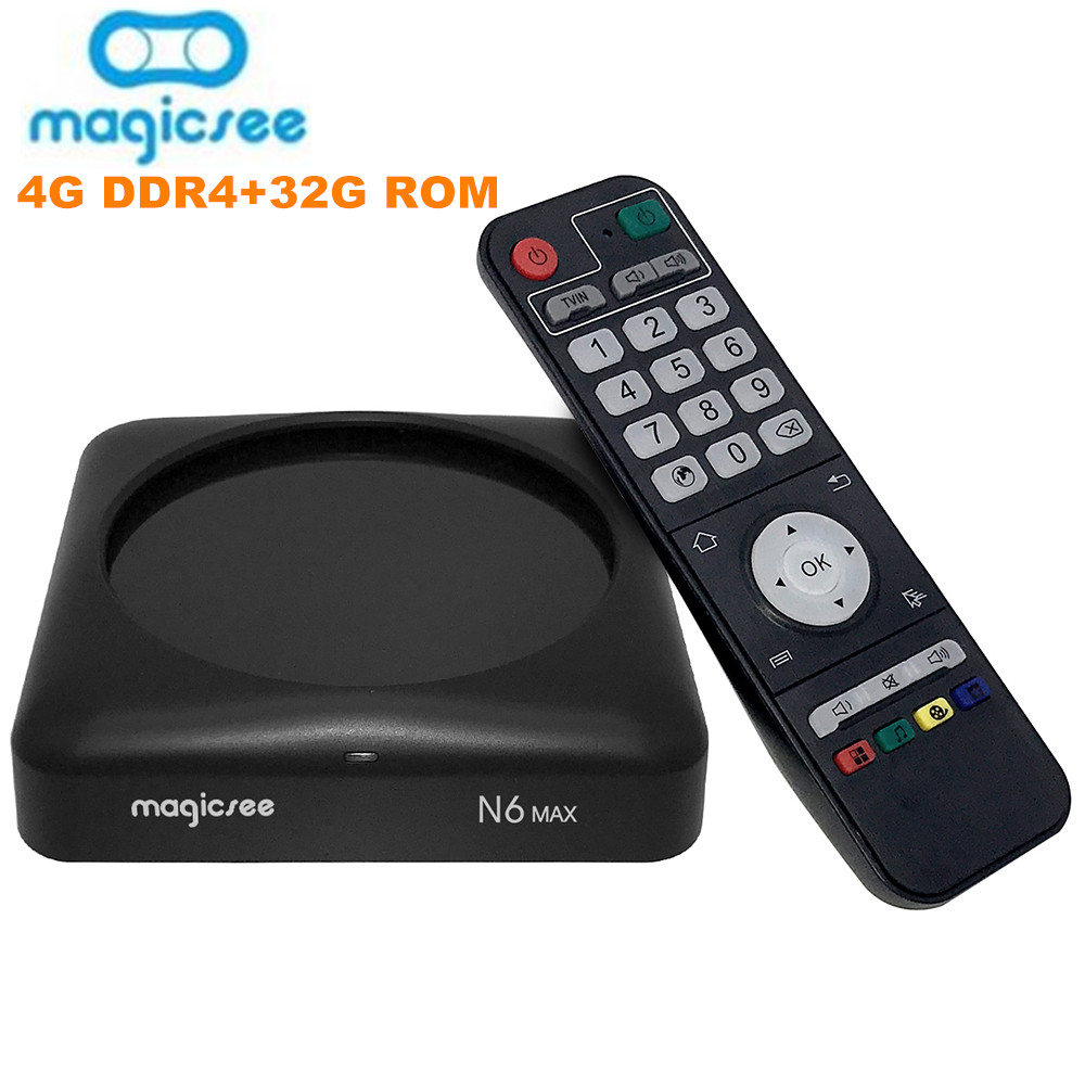 Magicsee N6 Max TV Box Android 7.1 Rockchip3399 4GB DDR4 32GB 5G WiFi 1000Mbps LAN Bluetooth 4.1 4K décodeur lecteur multimédia