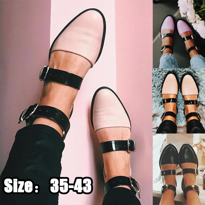 Women Fashion Sandals PU Leather Round Toe Lolita Shoes Casual Flats Shoes Belt Buckle Pointed Toe Shoes Low Heel Flats Shoes