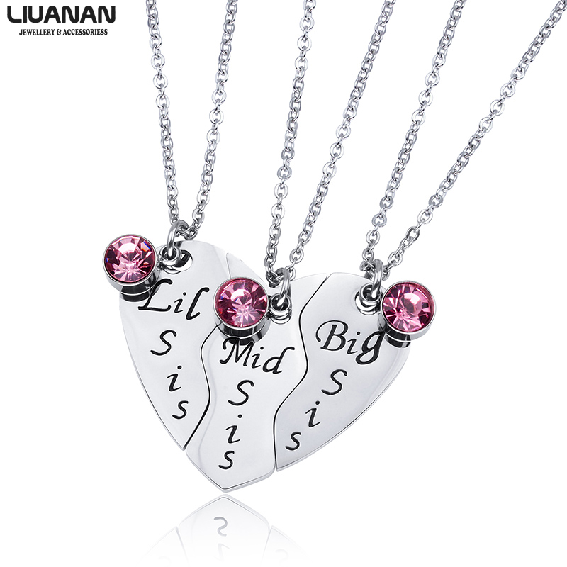Big Sis Middle Sis Little Sis Jewelry Necklace Set 3 Sisters Pendant BFF Best Friend Necklaces Girls Jewelry Gift for Sister