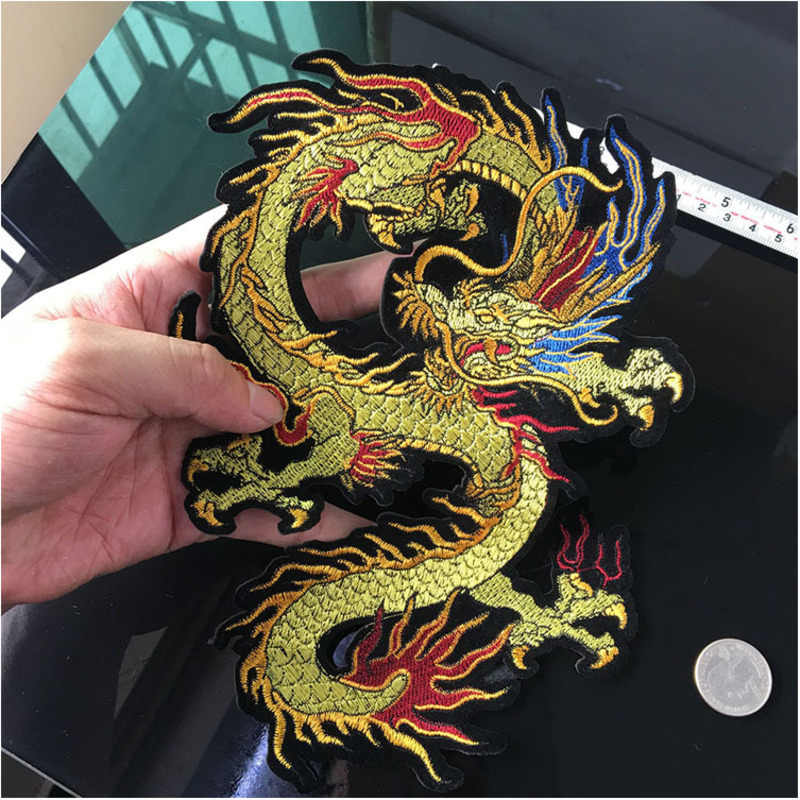 Sewing Embroidery Dragon Applique Chinese Dragon Patches for Clothing Freeshipping Iron On Patches Sticker for Clothing Badges
