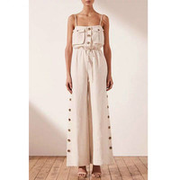 Women Jumpsuit White Long Jumpsuit Sleeveless Lace Up Rompers Womens Jumpsuit Loose Long Woman Overalls Summer 2019 New C026