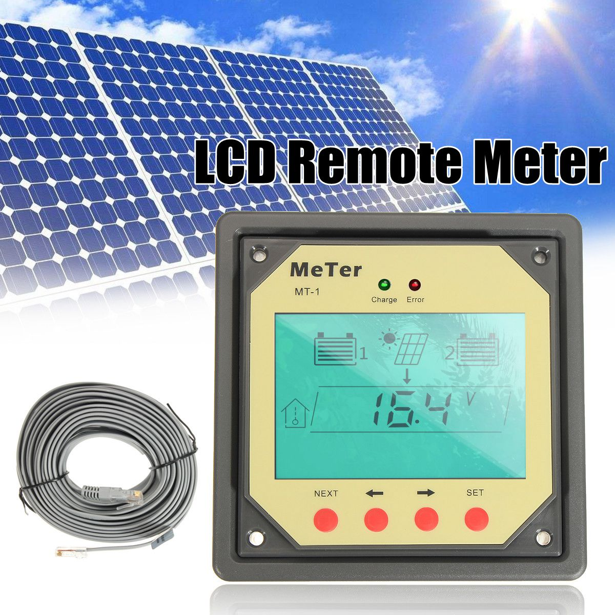 MT-1 Remote Meter LCD display Monitor for 10A 20A Dual Battery Solar Regulator Controllers remote meter lcd display mt1 for solar regulator for duo battery two battery