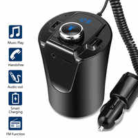 Car Bluetooth FM Transmitter Music Player Cup Holder Hands Free Calling Support U Disk TF Card Dual USB Charger Music Player