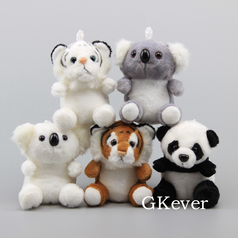 Real Life Animals Yellow Tiger Gray Koala Panda Plush Keychain Lovely Soft Toys Stuffed Dolls 13 cm