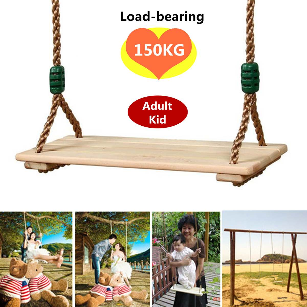 Indoor Outdoor Playhouse Wooden Children Outdoor Garden Swings Adults And Children Swing Wooden Toy Swing With Rope Toys Kids