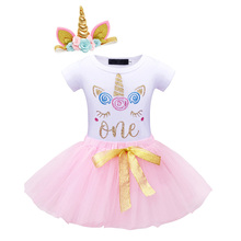 New Summer Baby girl clothes Newborn party dress 1st Birthday clothing Unicorn headbands kids outfit cotton newborn suit