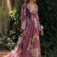 Purple Floral Print Party Long Dress Women Summer Beach Long Sleeve Tunic Sexy Deep V Neck Boho Holiday Vintage Maxi Dresses