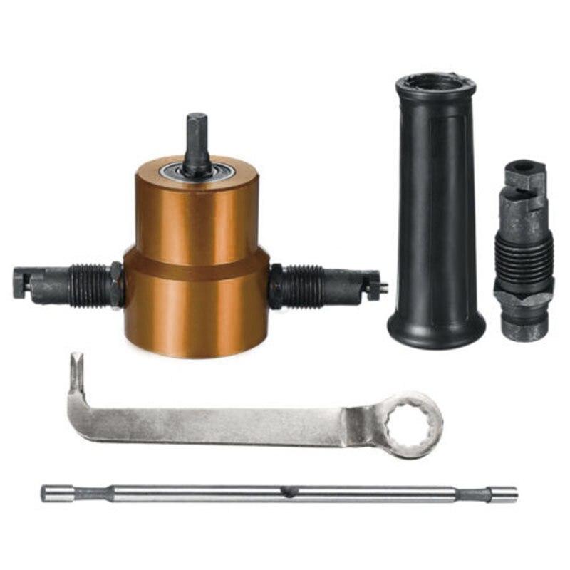 Thin Plate Double Head Metal Sheet Cutter Nibbler Drill Attachment Cutter Tool
