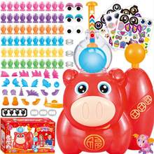 Inflatable Bubble Machine Toys Set Piggy Sticky Bobo Bubble Blower Handmade DIY Balloon Modeling Kit for Babies Boys Girls(China)