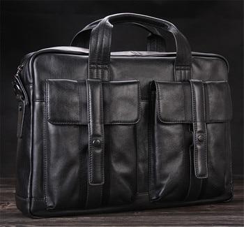 Luxury Men Genuine Leather Briefcase Business bag Leather Laptop Bag 15.4inch Office Bag Briefcase male portfolio men Black fashionable men s briefcase with zippers and black colour design