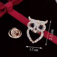 Korean Mini- Owl Shirt Small Brooch Restore Ancient Ways Suit Lead Needle Rhinestone Fashion Thorn Pin(China)