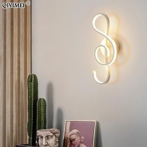 Image 4 - white/black LED Wall Lamp Modern Bedroom Beside Reading Wall Lights Indoor Living Room Corridor Hotel Room Lighting Decoration