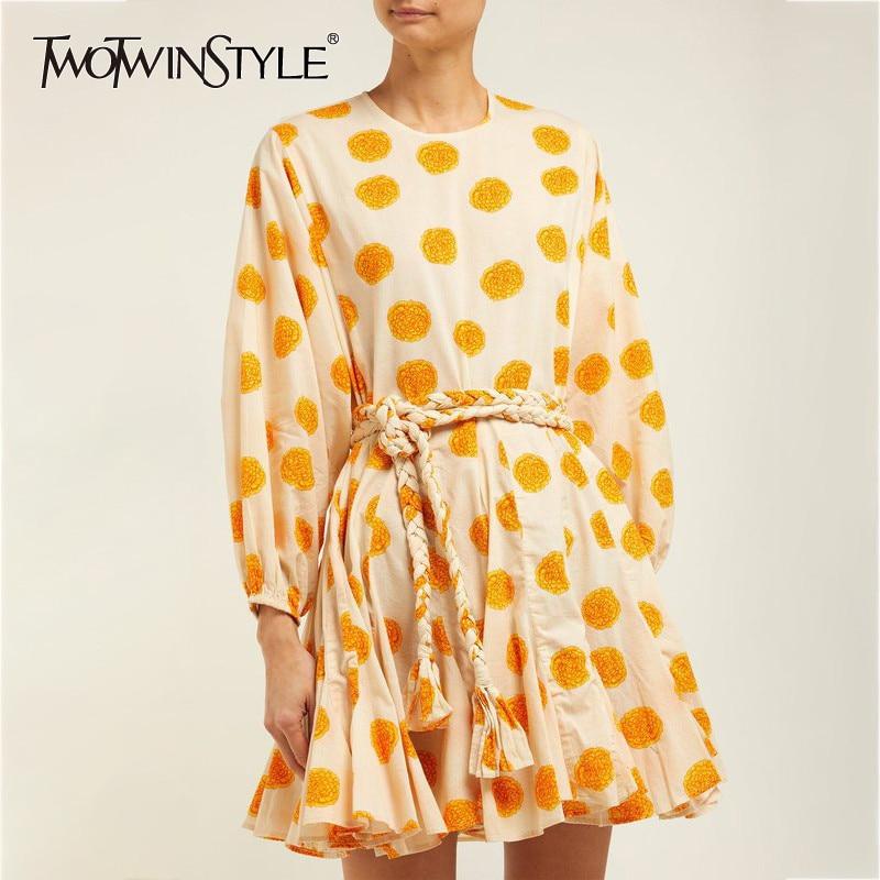 TWOTWINSTYLE Print Dress Women O Neck Lantern Long Sleeve Bandage High Waist Mini Dresses Female Casual