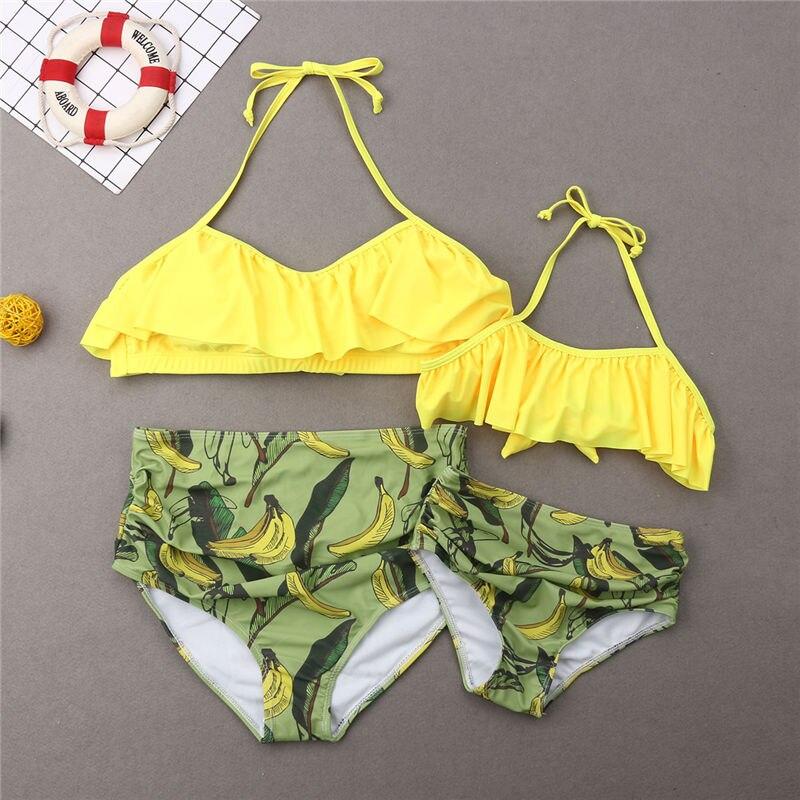 Family Matching Swimwear Mother Father Kids Bathing Suit Women Girls Halter Bikini Men Boys Fruits Trunks Swimsuit Beachwear