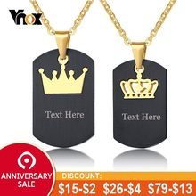 49101dfb52 Vnox His Hers Couple Necklaces Black Stainless Steel King Queen Crown Charm  Love Pendants Dog Tag Free Engraving Gifts