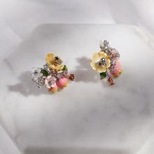 Vanssey boucles doreilles à bouton de fleurs pour femmes, motif naturel, mère des perles, émail, zircone cubique, accessoire, nouveauté 2018